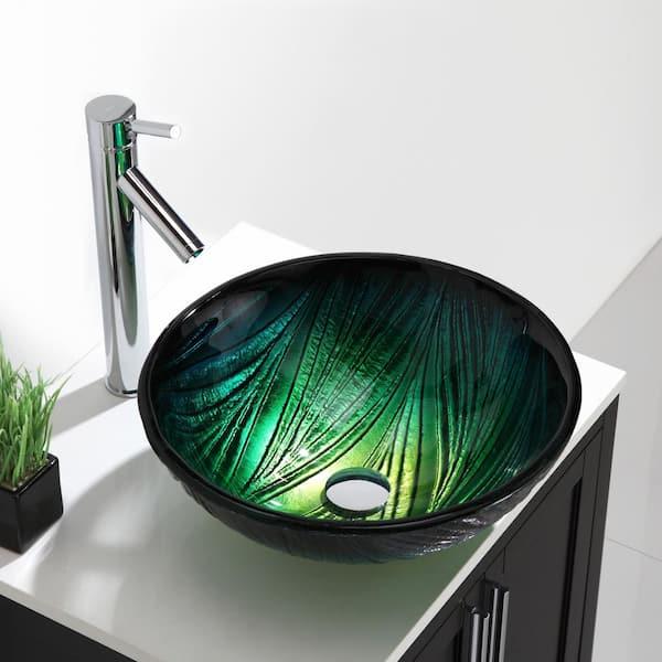 Kraus Nei Glass Vessel Sink In Green Gv, Green Glass Vessel Bathroom Sinks