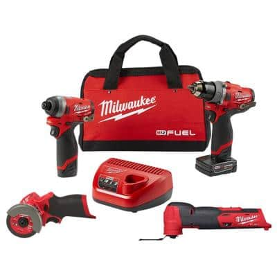 M12 FUEL 12-Volt Cordless Hammer Drill and Impact Driver with M12 FUEL 3 in. Cut Off Saw & M12 FUEL Multi-Tool Combo Kit