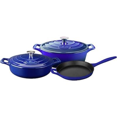 PRO Range 5-Piece Cast Iron Cookware Set in High Gloss Sapphire