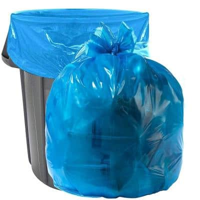 45 Gal. Heavy-Duty Blue Trash Bags - 40 in. x 46 in. (Pack of 100) 1.2 mil - for Industrial, Home, and Recycling Use