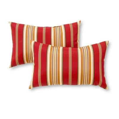 Roma Stripe Lumbar Outdoor Throw Pillow (2-Pack)