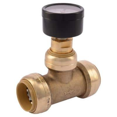 1 in. Push-to-Connect Brass Tee Fitting with Water Pressure Gauge