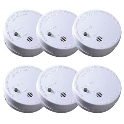 Code One Smoke Detector, Battery Powered with Ionization Sensor, Smoke Alarm, 6-Pack