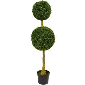 Indoor/Outdoor 4.5ft. Double Topiary Boxwood Artificial Tree, UV Resistant