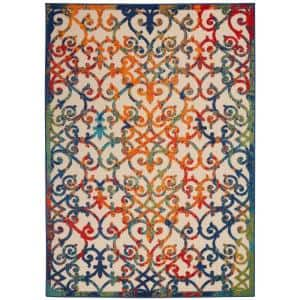 Aloha Easy-Care Multicolor 8 ft. x 11 ft. Moroccan Modern Indoor/Outdoor Area Rug