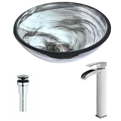 Mezzo Series Deco-Glass Vessel Sink in Slumber Wisp with Key Faucet in Brushed Nickel
