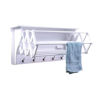36 in. White Wall Retractable Accordion Drying Rack