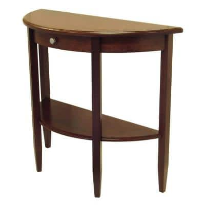 Concord 40 in. Walnut Standard Half Moon Wood Console Table with Drawers