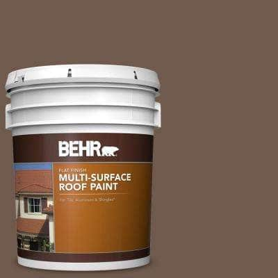 5 gal. #PFC-35 Rich Brown Flat Multi-Surface Exterior Roof Paint