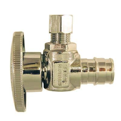 1/2 in. Chrome-Plated Brass PEX-A Expansion Barb x 1/4 in. Compression Quarter-Turn Angle Stop Valve