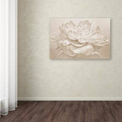 """30 in. x 47 in. """"White Peony"""" by Cora Niele Printed Canvas Wall Art"""