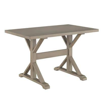 48 in. Rectangular Weathered Gray Writing Desks with Trestle Base