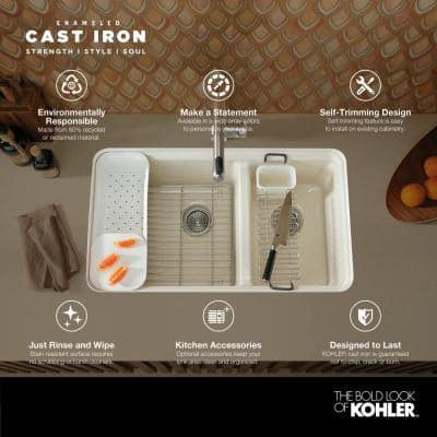 Riverby Workstation Drop-In Cast Iron 33 in. 1-Hole Single Basin Kitchen Sink Kit with Accessories in White