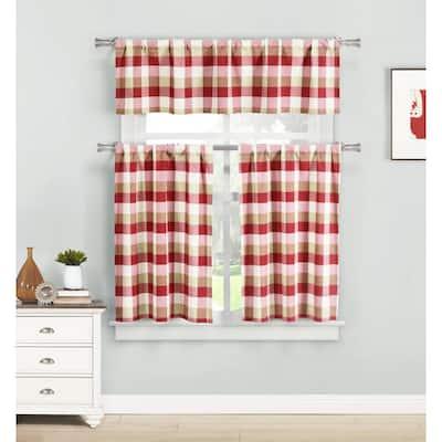 Red Gingham Rod Pocket Room Darkening Curtain - 58 in. W x 15 in. L (Set of 2)