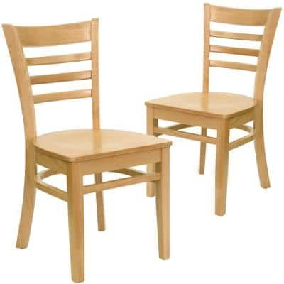 Natural Wood Seat/Natural Wood Frame Restaurant Chairs (Set of 2)