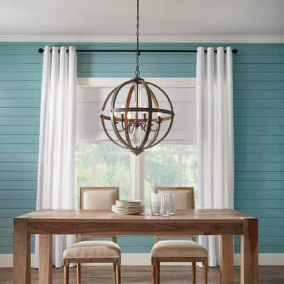 Keowee 24-1/4 in. 6-Light Artisan Iron Farmhouse Orb Chandelier with Coastal Antique White Wood Accents