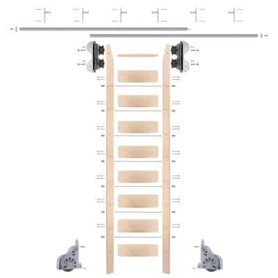 9 ft. Maple Library Ladder (10 ft. Reach), Polished Chrome Rolling Hardware 12 ft. Rail and Vertical Brackets