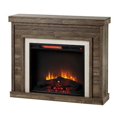 Grafton 40 in. Freestanding Travertine Surround Electric Fireplace in Shiplap
