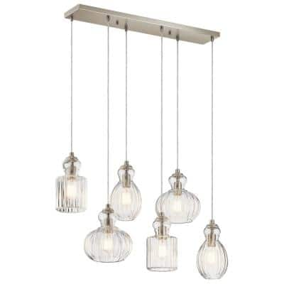 Riviera 6-Light Brushed Nickel Linear Chandelier with Clear Glass Shade