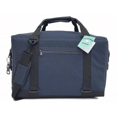 37.4 Qt. 24-Can Pack Capacity TPU Double Coated Soft Nylon Cooler Bag in Navy
