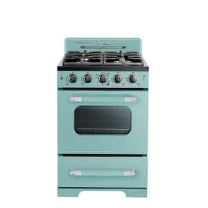 Classic Retro 24 in. 2.9 cu. ft. Gas Range with Convection Oven in Ocean Mist Turquoise