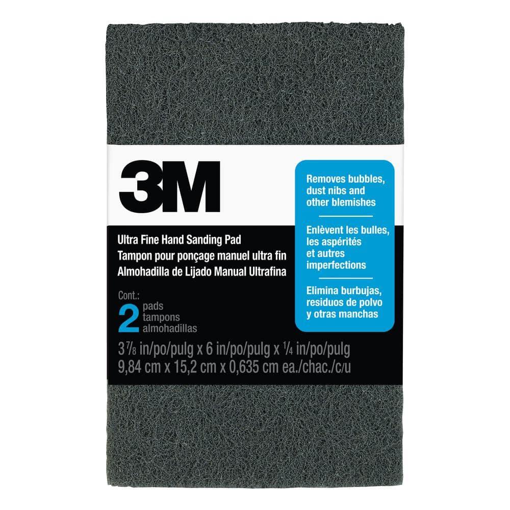 3M 3-7/8 in. x 6 in. x 1/4 in. (9.84 cm x 15.2 cm x 0.635) Ultra Fine Finishing Hand Sanding Pads (2-Pack)