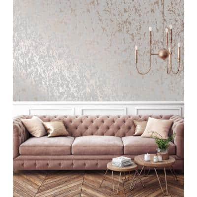 Milan Grey & Rose Gold Vinyl Non-Pasted Washable Wallpaper Roll (Covers 56 Sq. Ft.)