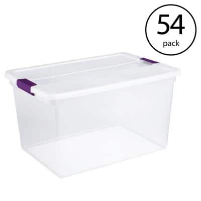 66-Qt. Clear View Latch Box Storage Tote Container-(54 Pack)