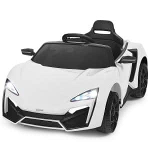 12-Volt Kids Ride On Car 2.4G RC Electric Vehicle with Lights MP3 Openable Doors White