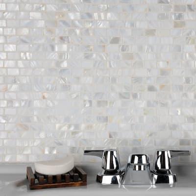 "Conchella Subway White 11-1/2""x 11-7/8"" Natural Seashell Mosaic"