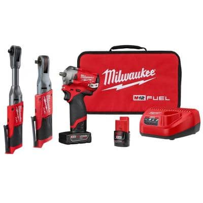 M12 FUEL 12-Volt Lithium-Ion Brushless Cordless 3/8 in. Impact Wrench & Ratchet Combo Kit (2-Tool) W/ Extended Ratchet