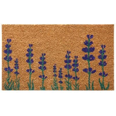 Purple English Lavender 18 in. x 30 in. Flower Doormat