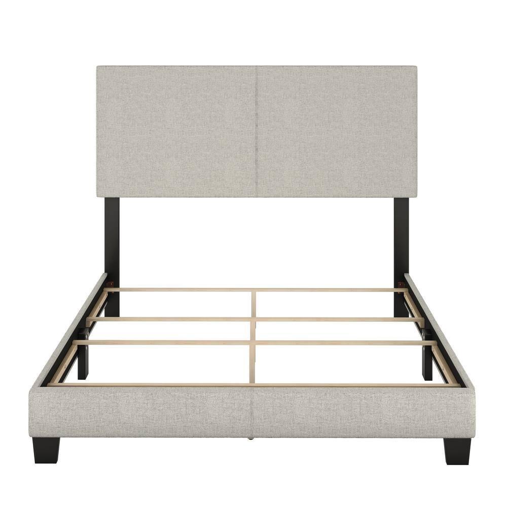 Rest Rite Barrett King Cream Linen Upholstered Platform Bed Mil897ek The Home Depot
