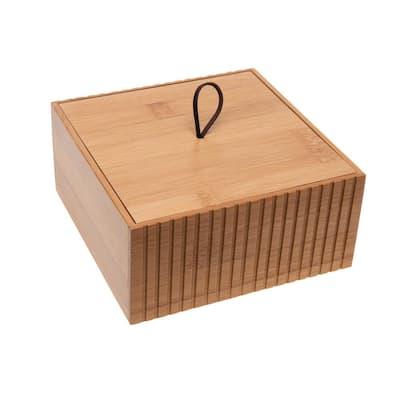 Large Square Bamboo Storage Jar