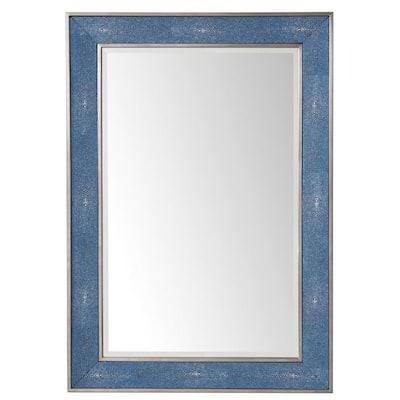 Element 27.5 in. W x 39.50 in. H Single Framed Wall Mirror in Delft Blue