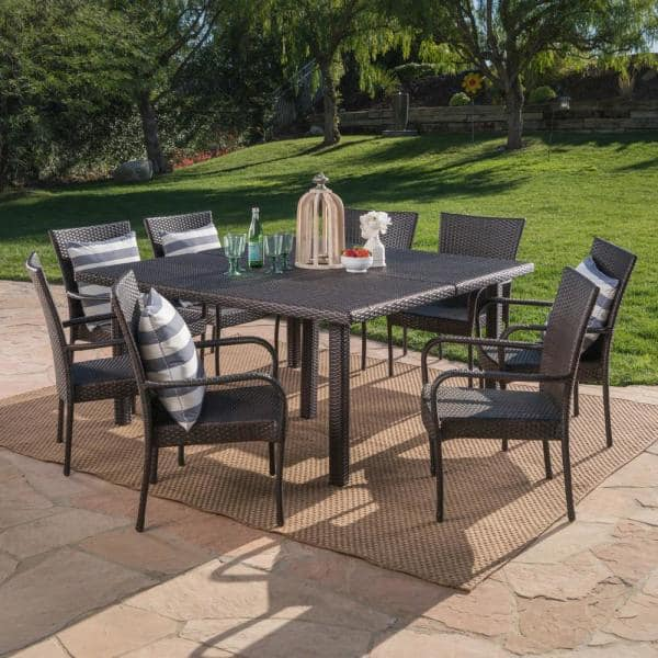 Noble House Multi Brown 9 Piece Iron, Outdoor 9 Piece Dining Set