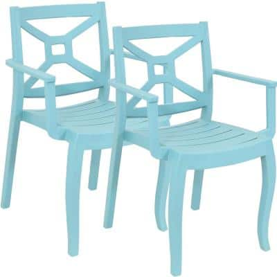 Tristana Plastic Outdoor Patio Arm Chair in Blue (Set of 2)