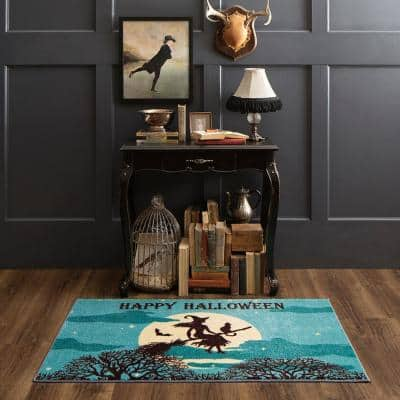 Twilight Witch Aqua 2 ft. x 3 ft. 4 in. Holiday Area Rug