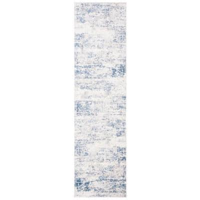Amelia Ivory/Blue 2 ft. x 14 ft. Abstract Distressed Runner Rug