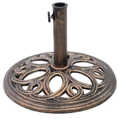 23.6 lbs. Cast Iron Round Patio Umbrella Base in Bronze