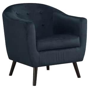 Dark Blue Mosaic Velvet Accent Chair