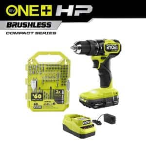 ONE+ HP 18V Brushless Cordless Compact 1/2 in. Hammer Drill Kit with (1) 1.5 Ah Battery, Charger, & 65PC Bit Set