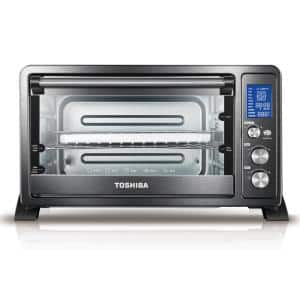 Digital 1500 W 6-Slice Black Convection Toaster Oven with Temperature Control