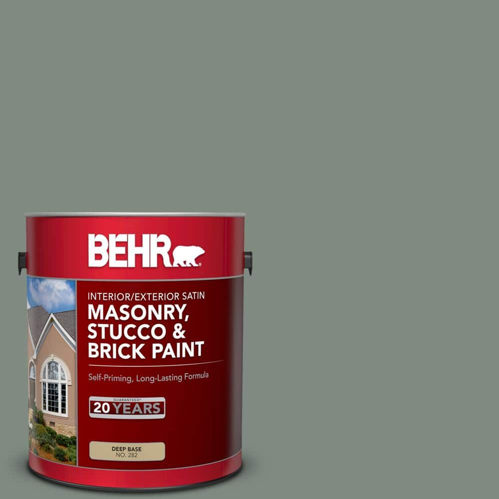 Behr 1 Gal Ms 69 Army Green Satin Interior Exterior Masonry Stucco And Brick Paint 28201 The Home Depot
