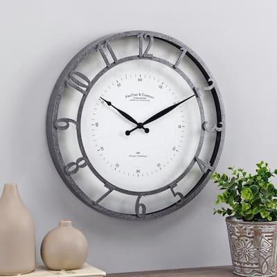 18 in Galvanized Kensington Whisper Clock