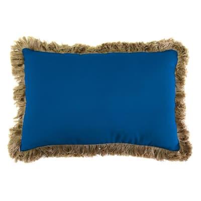 Sunbrella 9 in. x 22 in. Canvas Navy Lumbar Outdoor Pillow with Heather Beige Fringe