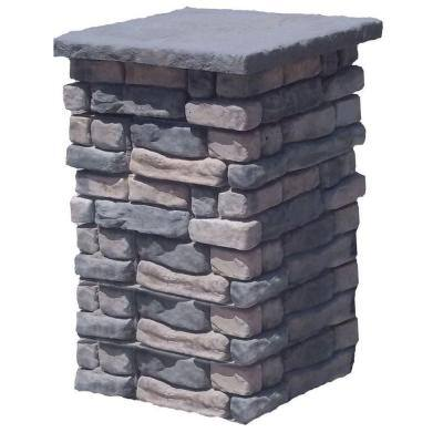 36 in. Concrete Tall Random Limestone Column Kit with Top Cap