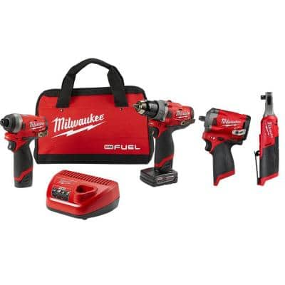 M12 FUEL 12-Volt Lithium-Ion Brushless Combo Kit (2-Tool) with 3/8 in. High Speed Ratchet & 3/8 in. Stubby Impact Wrench