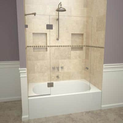 2000V Series 45 in. W x 60 in. H Semi-Frameless Fixed Tub Door with Swing Panel in Polished Chrome and Clear Glass