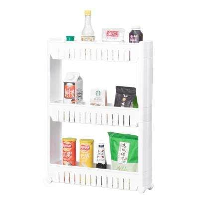 Ready to Assemble 5 in. x 21 in. x 28.25 in. Plastic Pantry Storage Kitchen Cabinet 3-Shelf Cart Rack Tower Wheels White